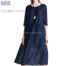 2017 sexy indian cheap prom dresses ladies elegant plain dark blue half sleeve long muslim dress plus size