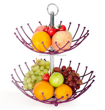 2016 New Product Hot Modern Design 2 Tier Wire Fruit Basket