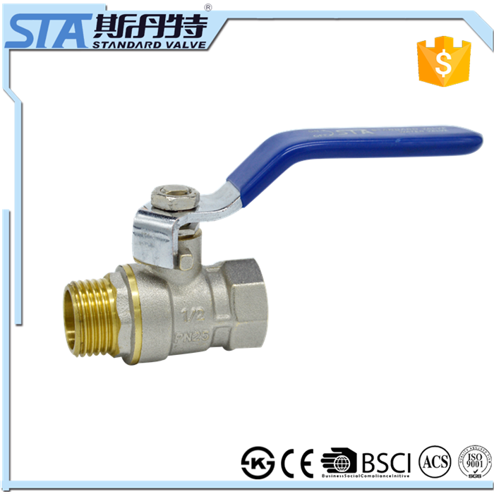 ART.1006 CE Certification High Quality BSP Female Male Thread 1 inch Brass Ball Valve for Water Air Gas and Oil China Supplier