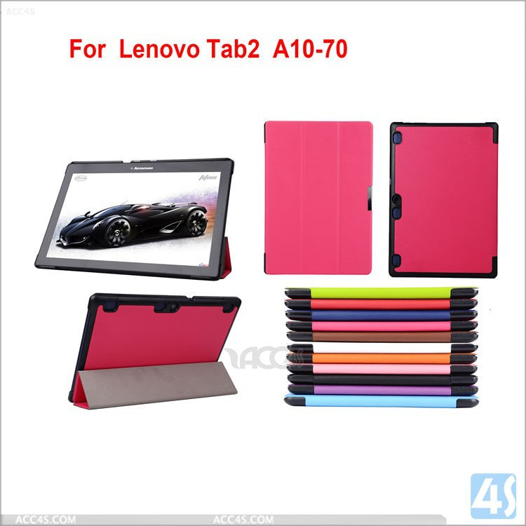 Ultra Slim three folding PC+PU Leather Case Cover for Lenovo TAB 2 A10-70F Tablet PC