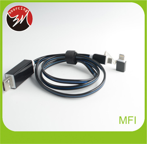 Newest design EL flow wire 8pin micro usb cable 2 in1 usb cable