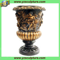 large antique brass flower pot with angel BASN-W045