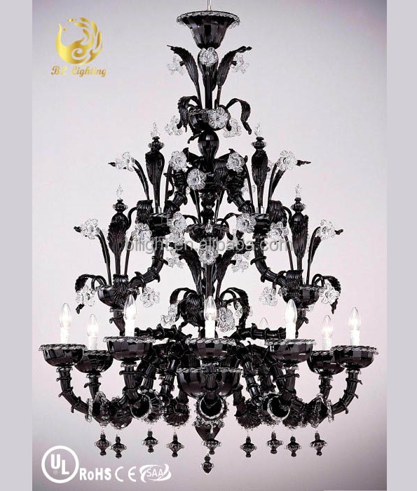 Hotel decorative large size glass modern black chandelier