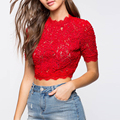 China factory ladies fashion lace crop tops