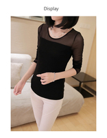 Chiffon sleeve design lady fancy leisure breathable hight quality t shirt