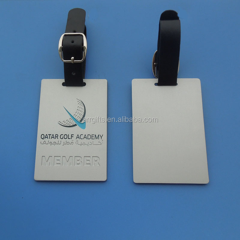 metal engraved Qatar Golf Academy silver luggage tag with leather strap