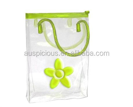 Fashion flower pattern pvc bag with hanger
