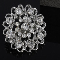 wholesale jewelry accessory faux pearl round shape crystal wedding brooches