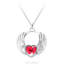2017 fashion style the necklace of flying heart shaped for Girl,angel wing pendant necklace
