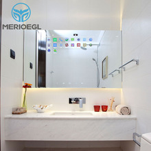 Rectangle TV electronic mirror clock bathroom smart touch mirror with LED light