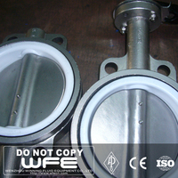 Stainless Steel PTFE Seat 304 316 Lug Wafer Type Worm Gear Butterfly Valve