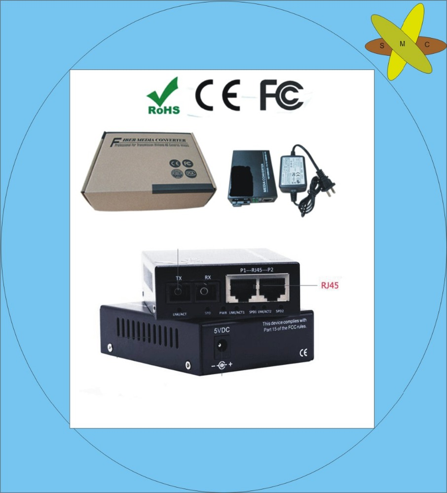 wholesale 100% original 10/100 Singlemode 20KM Duplex Fiber Optic to RJ45 Ethernet Media Converter CCTV