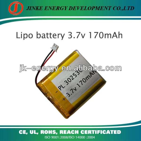 Long cycle time 170mah 3.7v lithium ion polymer battery 302530 in stock