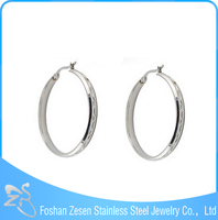 ZS17052 2015 big round hoop earring, women stainless steel hoop huggie earrings