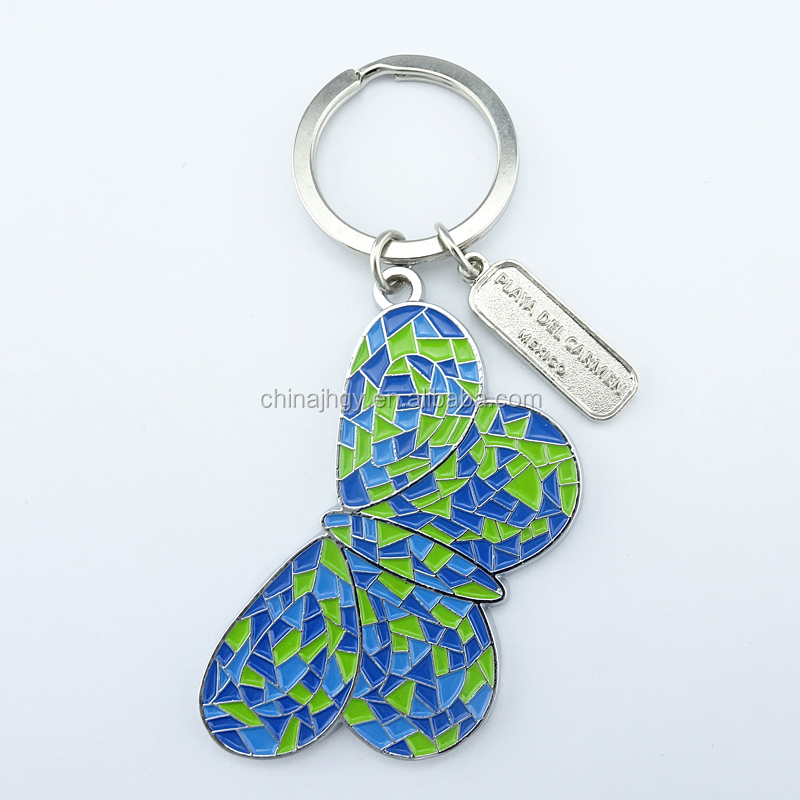 Stock Zinc Alloy Metal Type and Metal Butterfly Metal Key Ring