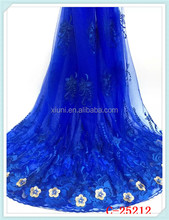 Latest arrive blue lace kaftan fabric for bridal wedding dress