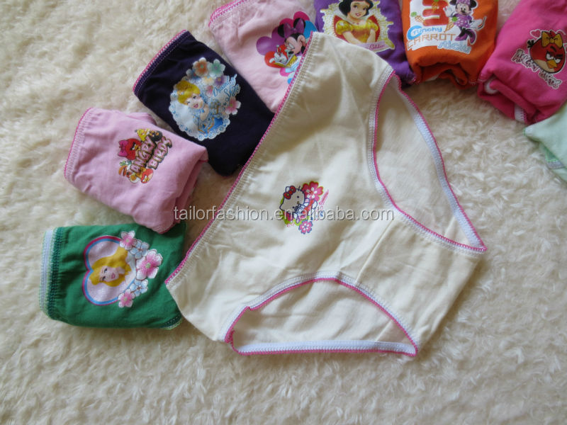 underwear for girl guangzhou 100% cotton cartoon character printing brief underwear