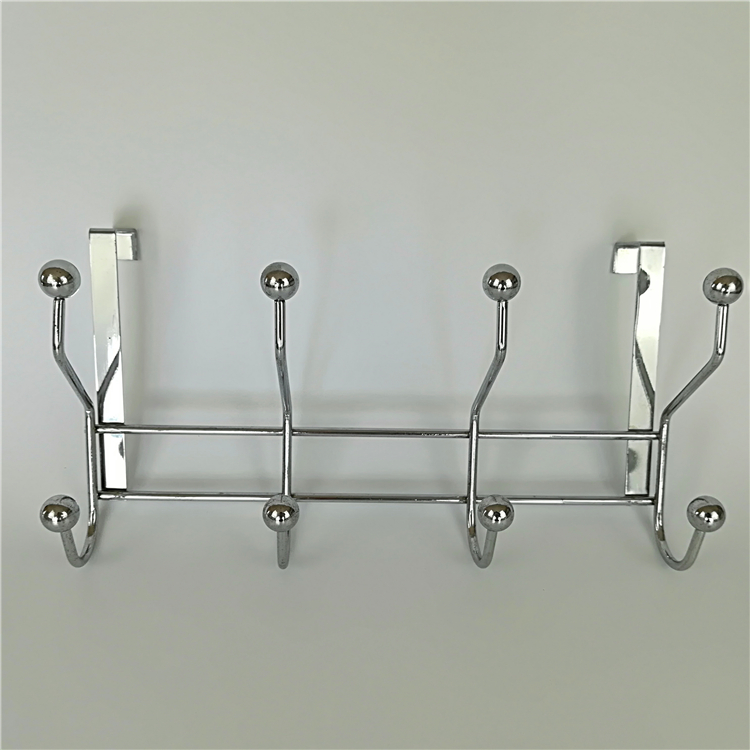 BIG IRON BALL 4 HOOKS HANGER RACK CHROME PALTED METAL WIRE BAG HOOK
