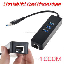 usb ethernet adapter rj 45 gigabit lan card With 3 Port usb 3.0 hub