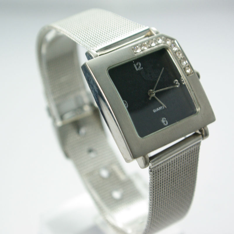 Chrome Finish with Stainless Steel Wire Bangle Watch