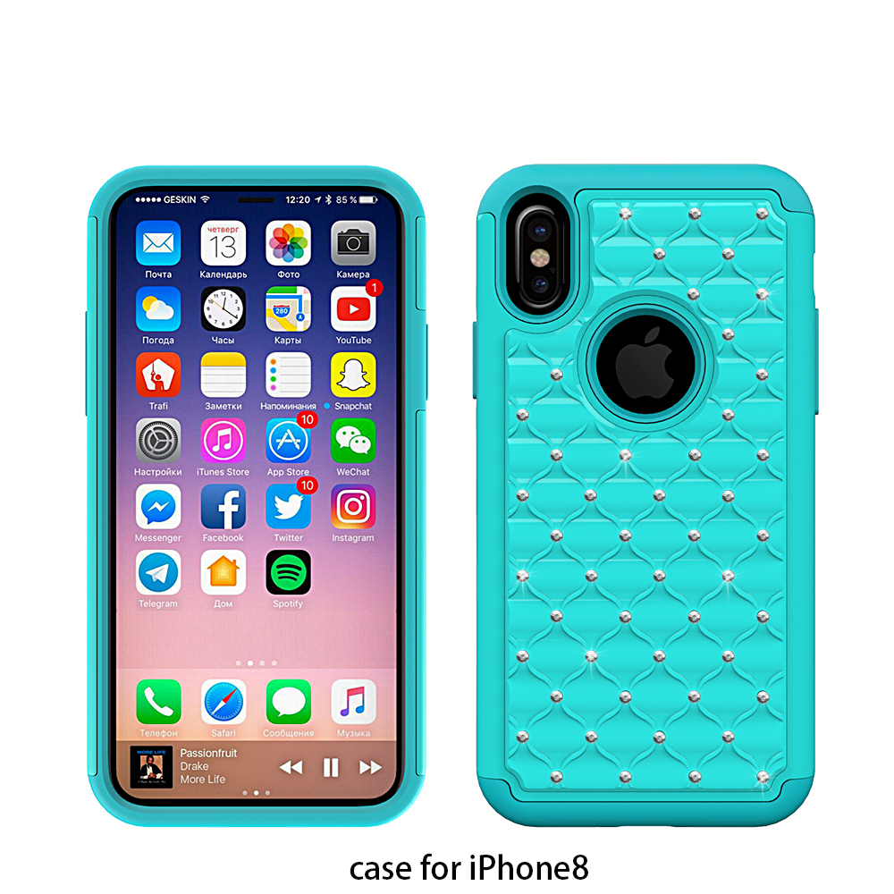 5.8 inch drop resistance hybrid bling bling diamond cover case for apple iphone 8