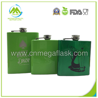 6oz Spray Painting Stainless Steel Hip Flask With Customized Logo