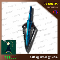 20150813 TY11002 blue steel/aluminum 125 grain 2 blades broad head designed for target archery crossbows and hunting