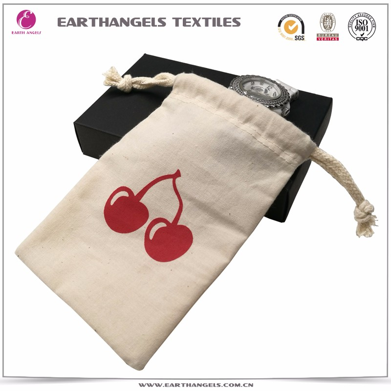 Grey Cotton Jewelry Packing Bags/Kids Drawstring Bag Cotton