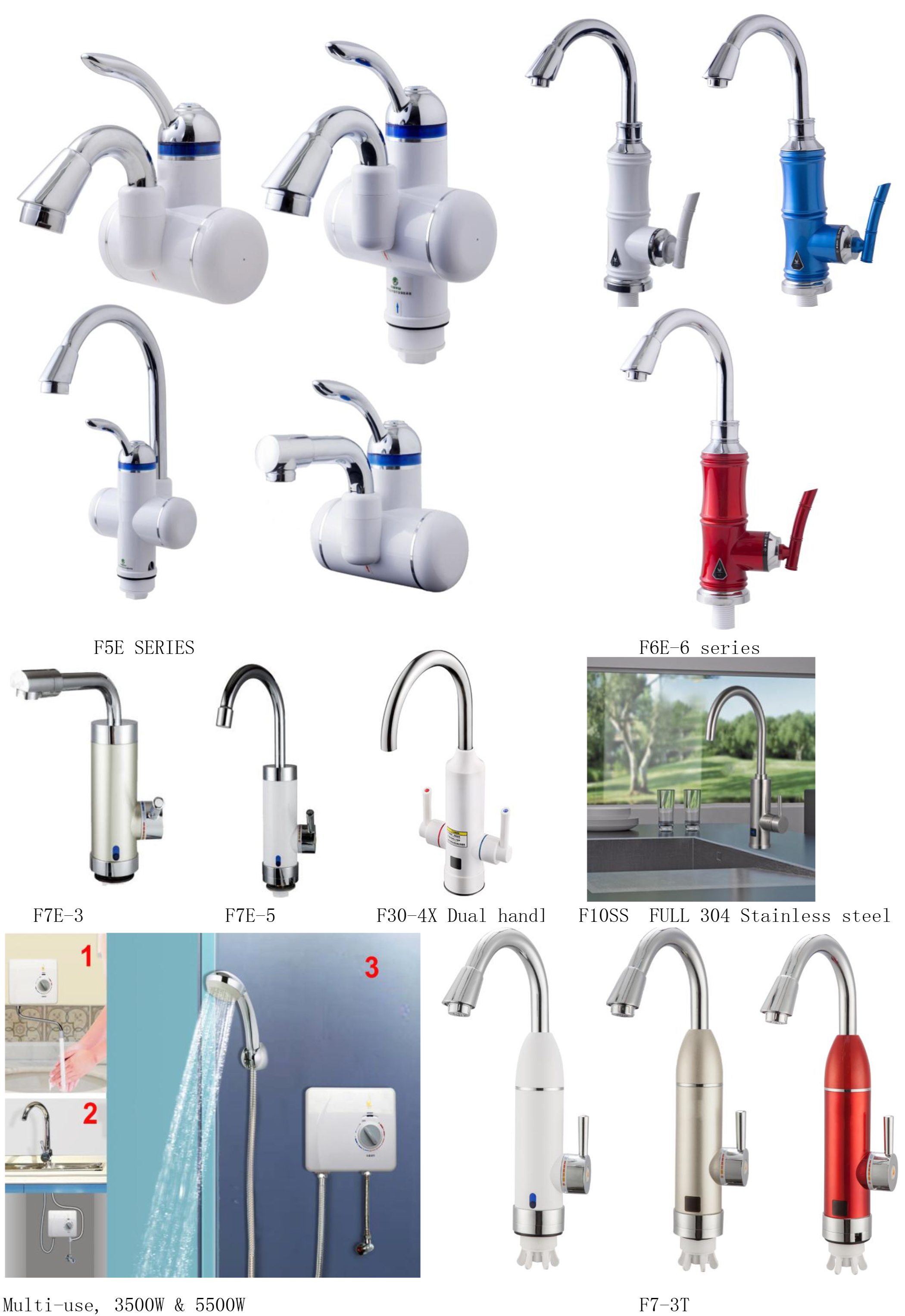 New Modern Wall Mounted Instant Water Tap Electric Faucet For Bathroom
