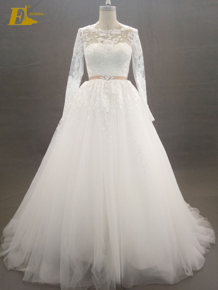 Manufacturer Scoop Neckline Sash Long Sleeve Lace Appliques Wedding Dress Bridal Gown