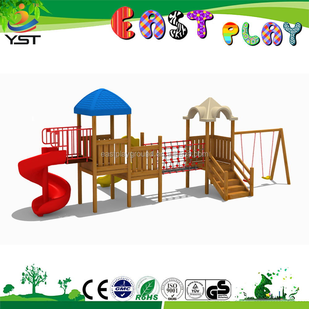 Kids Outdoor Wooden And Plastic Playhouse Swing Set