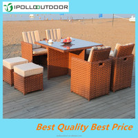 Synthetic 8 seater brown rattan used restaurant furniture outdoor