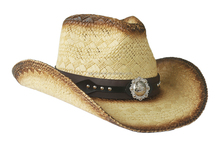 USA Western Style Straw Hat With Badge Band Enclosed CH17