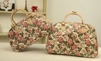 the latest popular style printing big flowers short business PU travel bag for women