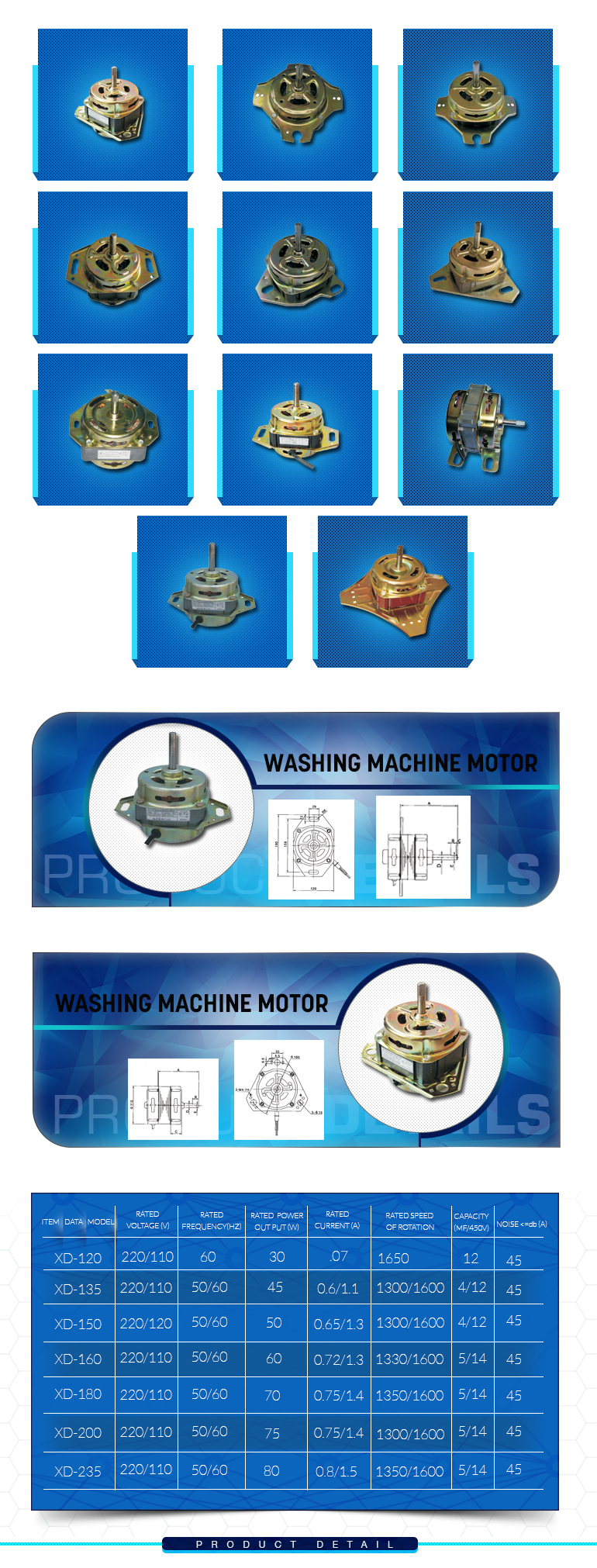 Ac Motor for Washing Machine Spin Machine Parts