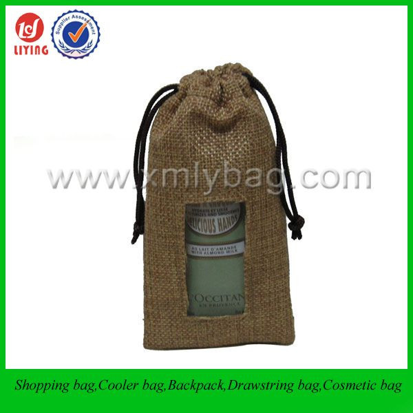Nice Christmas Drawstring Gift Jute Jewelry Pouch Jute Bag Wholesale