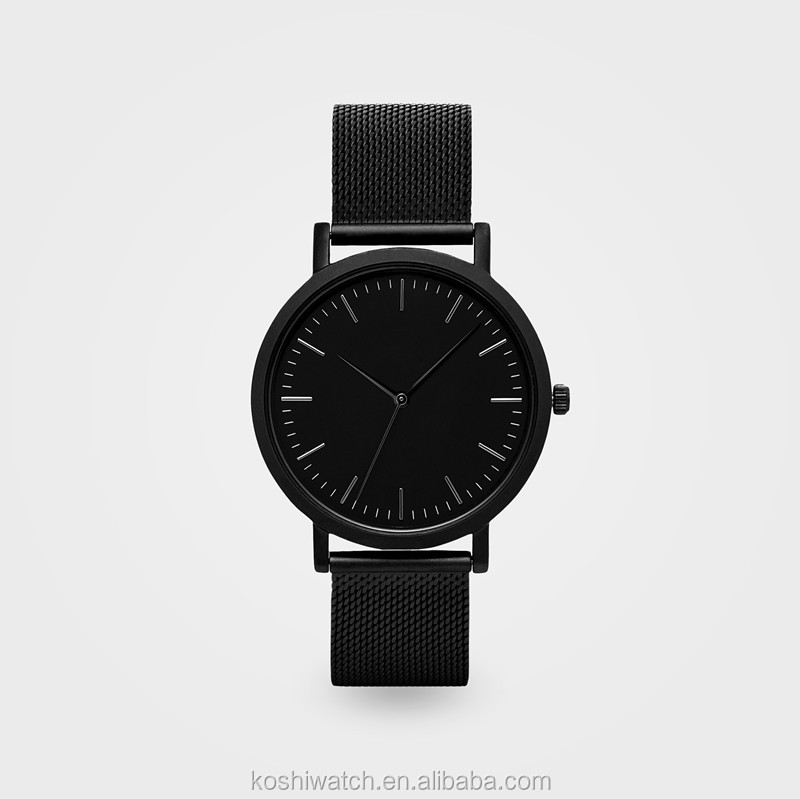 Best quality brand logo minimalistic and classic design all black luxury stainless steel mesh wrist watch