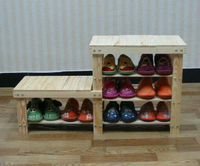 Wooden shoe rack High and low wood stool