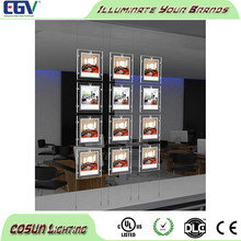 LED a3 portrait acrylic crystal light pockets for real estate window display
