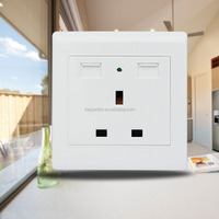 China's Alibaba Best Selling Products Electrical UK Double USB Port Wall Socket with Neon
