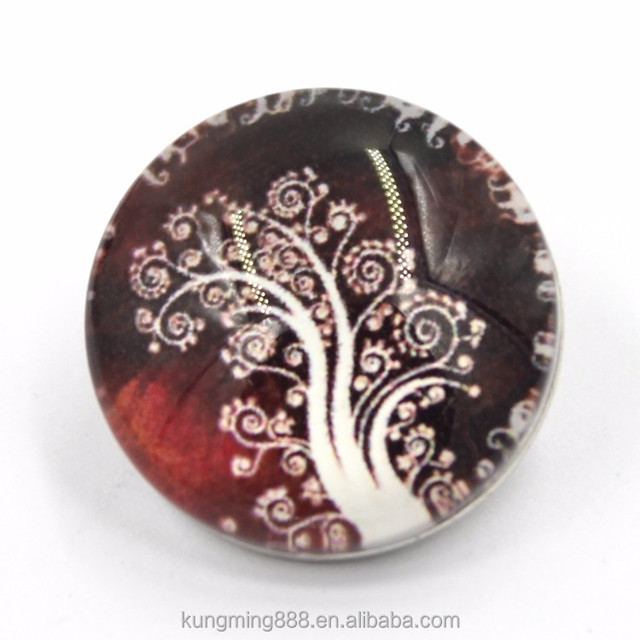 18mm Tree of Life Picture Glass Dome Covered Button Snaps for Jewelry