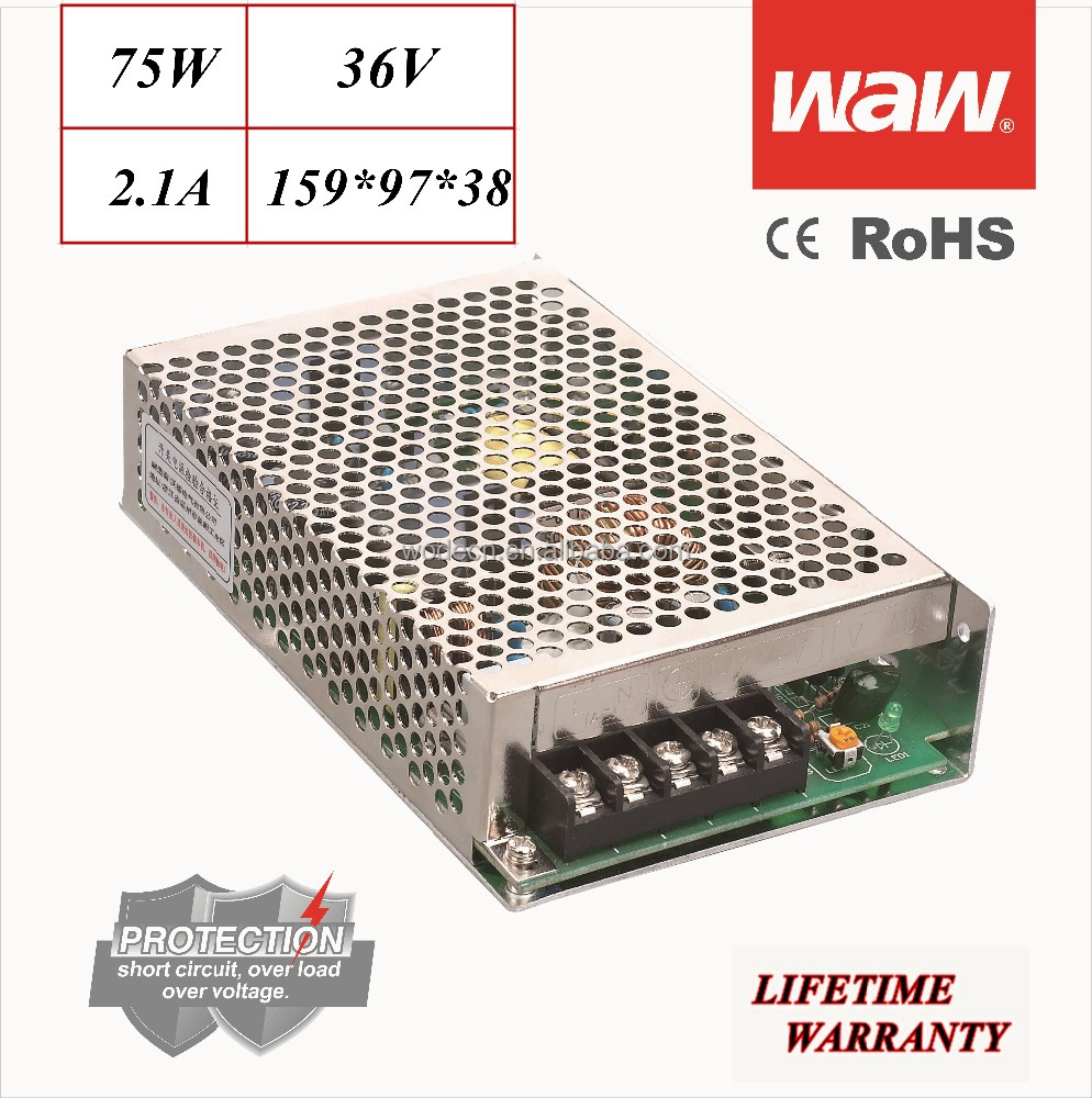 NES-75 36V 75W 110V/220V wide voltage AC/DC Switching Power Supply driver for CCTV system LED stripe 3D printer CE ROHS SMPS