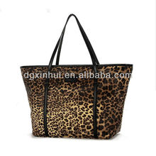 Fashion latest ladies 30*40*10cm handbags with leopard accept 100pcs