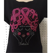 Aprise - Pink Ribbon Believe Afro girl Breast Cancer Rhinestones Bling Iron On Transfer SHIPS FAST