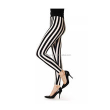 Ladies Full Length Leggings Black and White Vertical Stripe Printed Womens Tube Compression Stockings Pantyhose
