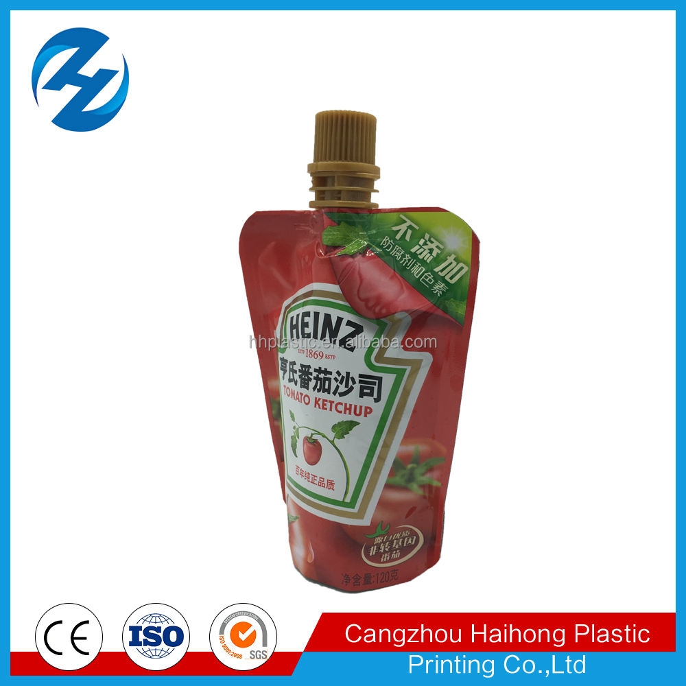 flexible plastic reusable food pouch with nozzle for liquid drink,puree, sauce packing