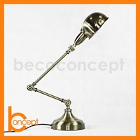 83CM Wrought Iron Retro Antique Brass Adjustable Table Lamp