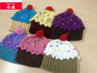 kids hot promotional high quality knitted cupcake hat pattern free