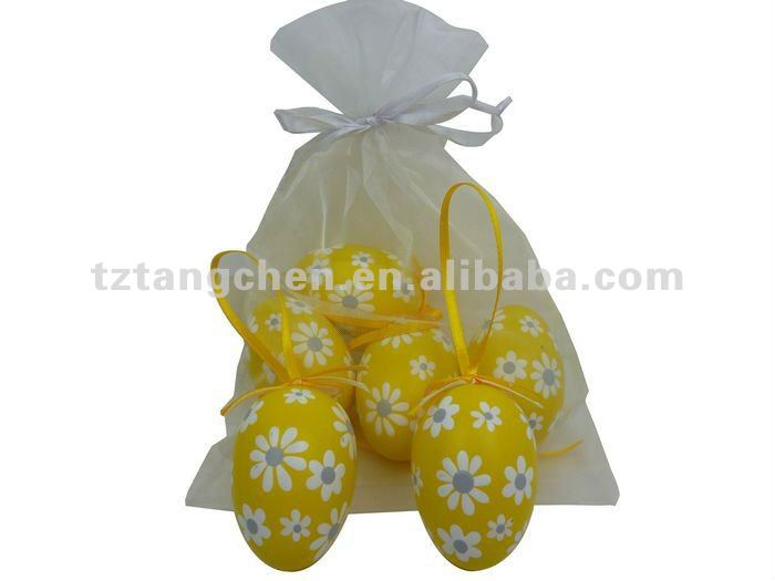 Hot sale easter plastic egg hanger in organza bag S/6