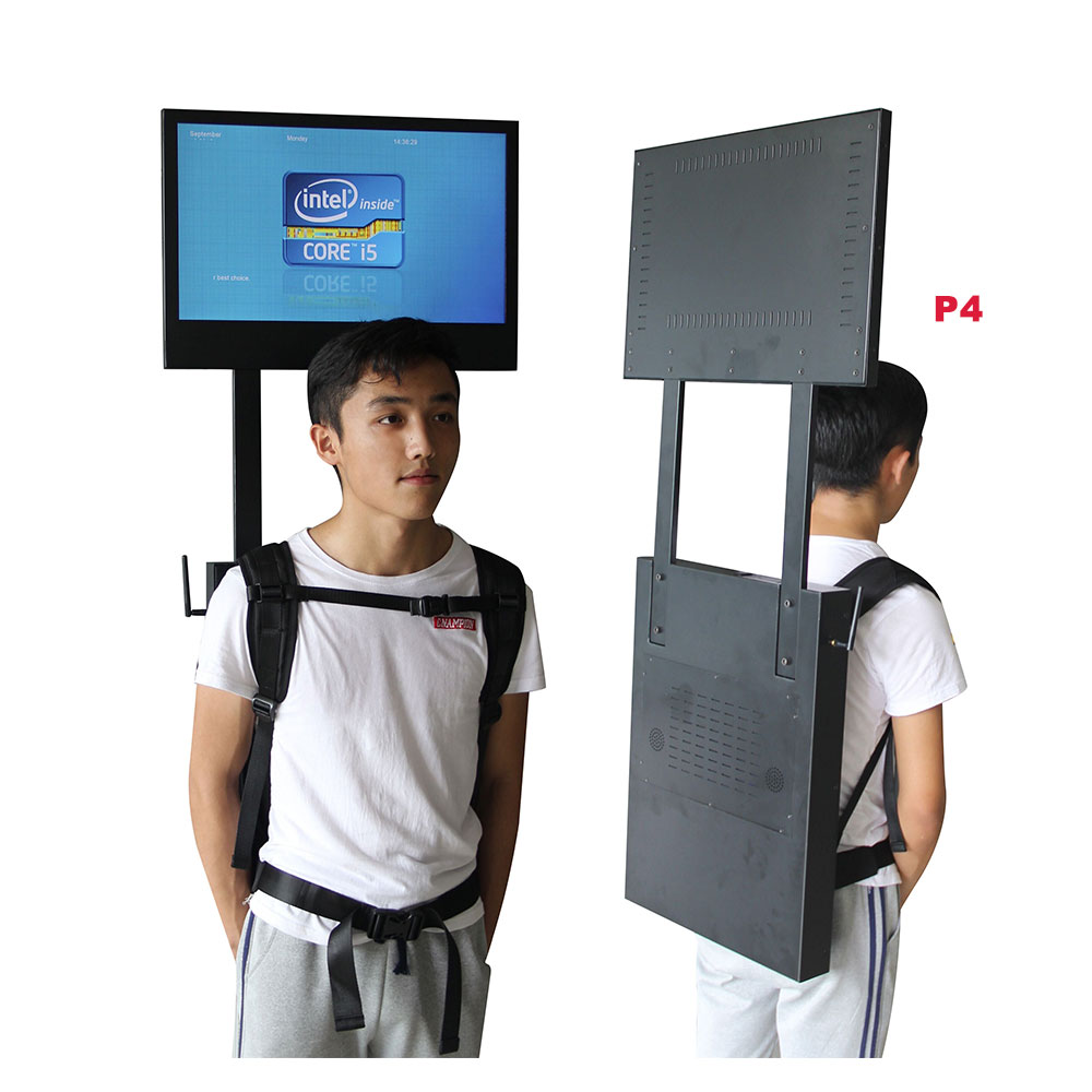 2019 22'' digital led walking billboards street publicity backpack <strong>advertising</strong>
